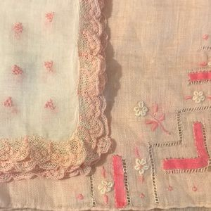 Set of Two Pretty in Pink Ladies Handkerchiefs